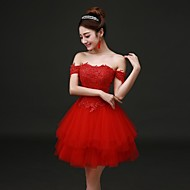 Cocktail Party Dress - Ruby Plus Sizes A-line Off-the-shoulder Knee-length Lace / Tulle