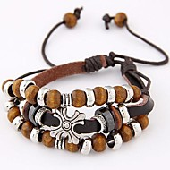 Unisex Ethnic Multilayer Cross Simple Wooden Beads Leather Fashion Bracelet