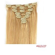 22'' 7pcs Clips in Human Hair Extensions Mixed 27/613 Blond 70g for Women's Beauty Hairsalon in Fashion