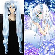 angelaicos naiset Vocaloid lumi Miku sininen kaltevuus pitkä 2 poninhännät kihara lolita tyttö halloween puku cosplay peruukki