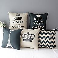 conjunto de 5 coroa estilo moderno modelado algodão / linho cobertura decorativa travesseiro