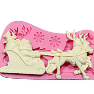 Silicone Mold DIY 3D Christmas Santa Claus Reindeer With Sled Fondant Cake Decorating Tools Chocolate Mold SM-242