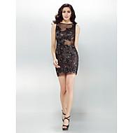 Cocktail Party Dress - Black Sheath/Column Bateau Short/Mini Lace