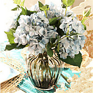 Five Blue Hygrangeas Artifical Flowers With Grey Vase