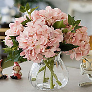Five Flesh Pink Hygrangeas Artifical Flowers With Vase