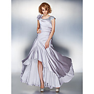 A-line Plus Sizes / Petite Mother of the Bride Dress - Silver Asymmetrical Short Sleeve Satin Chiffon