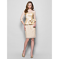 Sheath/Column Mother of the Bride Dress - Champagne Knee-length 3/4 Length Sleeve Lace/Taffeta