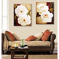 e-home® strukket lerret kunst hvite blomster dekorasjon maleri sett med 2
