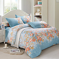Floral Cotton / Faux Silk 4 Piece Duvet Cover Sets