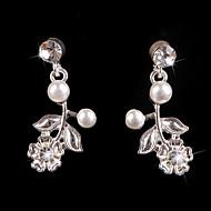 Luxurious Rhinestones Vintage Dangle Brides Bridesmaids Wedding Party Princess Leaf Silver Earring
