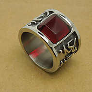 Men's Ruby Drill Titanium Ring