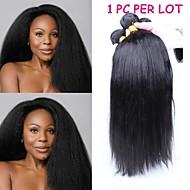 3stk / lot 10 '' - 26''mongolian jomfru hår naturlig sort kinky lige uforarbejdede menneskehår bundter