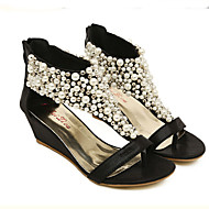 Women's Shoes Leatherette Wedge Heel Wedges/Platform/Open Toe Sandals Casual Black/Gold