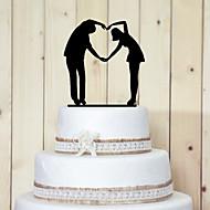 kake toppers klassisk par akryl hjerteformede gest kake topper