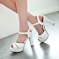Women's Spring Summer Fall Leatherette Outdoor Dress Casual Chunky Heel Buckle Blue Pink White