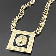 Square Lion Head Necklace With Black Enamel