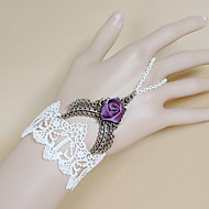 Retro Gothic Punk Lace White Roses Bracelet Ring Set