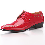 Men's Spring Summer Fall Comfort Leather Wedding Office & Career Party & Evening Rivet Lace-up Black Red White