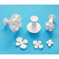 חותך בוכנת פלסטיק הידראנגאה ארבעה-ג להגדיר 3, חותכי פונדנט / sugarcraft / gumpaste / מרציפן