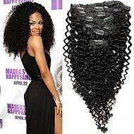 """7pcs / set 12 """"-26"""" cabelo brasileiro natrual clipe encaracolado Kinky preto no cabelo humano unrocessed tece"""