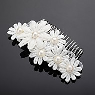 Women's/Flower Girl's Lace/Alloy/Imitation Pearl Headpiece - Wedding/Special Occasion/Outdoor Hair Combs/Flowers