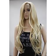rubio dorado mezcla larga peluca ondulada rizada ninguna parte de la piel lado flequillo principales de la nueva manera de las mujeres