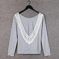 여성의 라운드 넥 긴 소매 티셔츠 레이스/면