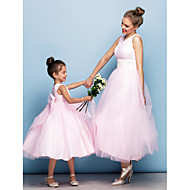 저녁 정장파티 드레스 - 블러슁 핑크 볼 가운 티 길이 V넥 명주그물