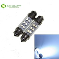2 X 36MM SV8.5 1W 6LED Cool White Light Festoon Bulb for Car Lamps (DC12-16V)