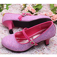Girl's Heels Spring / Summer Round Toe Leatherette Dress / Casual Chunky Heel Sequin / Buckle Pink / Silver / Gold