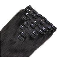 """8pcs / lot 120g 16 """"-24"""" # 1 # 1b # 8 # 10 # 613 grampo marrom na extensão do cabelo humano"""