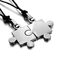 His & Hers Couples Gift Puzzle Stainless Steel Pendant Love Necklace Set Valentine Silver