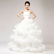 Princess Wedding Dress - White Floor-length Strapless Lace/Organza