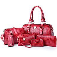 Women PU Duffel Shoulder Bag / Tote - White / Blue / Red / Black