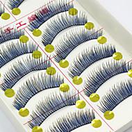 10 Pairs Natural Long Black Blue False Eyelashes Handmade Soft Thick Fake Lashes Makeup Eyelashes Extensions