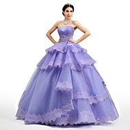 Formal Evening Dress - Lilac Petite Ball Gown Strapless Floor-length Lace / Organza / Tulle / Charmeuse