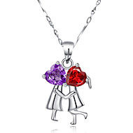 Women's Sterling Silver Necklace With Garnet Amethyst SH0003P