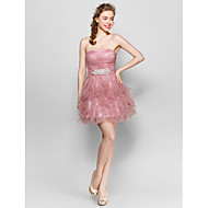 Knee-length Tulle Bridesmaid Dress Ball Gown Sweetheart