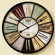 Antique Vintage Style Wood Wall Clock With Wrought Iron Frame Roman Number Print Home Decor 34*34cm