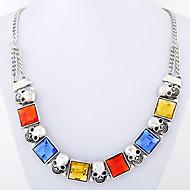 Women's European Style Fashion Metal Shiny Squares Skull Necklace