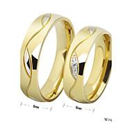 Anéis Pedras dos signos Casamento / Pesta / Diário / Casual / Esportes Jóias Aço Titânio Casal Anéis de Casal 1pç Dourado / Preto