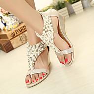 Women's Shoes Leatherette Wedge Heel Wedges/Platform/Open Toe Sandals Casual Black/Gold