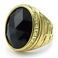 Mens Crystal Stainless Steel Ring, Classic Oval, Color Black Gold, Size 8-11