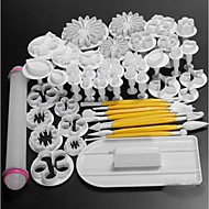 46Pcs Cake Decorating Fondant Icing Plunger Cutters Tools Mold