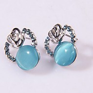 Women's Fashion Alloy Stud Earrings With Opal/Rhinestone(More Color)