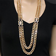Double Gold Chain Square Lion Head Fashion Enamel Necklace