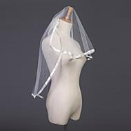 Wedding Veil Two-tier Elbow Veils Ribbon Edge 31.5 in (80cm) Tulle White / Ivory