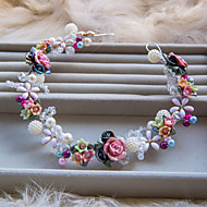 Women or Girl Use Polymer Clay And Pearl Flower Headbands Style Wedding or Party Single Headpiece A1077Q