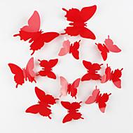pegatinas protección del medio ambiente 3d pared de la mariposa 12pcs / set roja