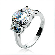 Retro Three Oval Stones Ring Sterling Silver Engagement 2.41CT SONA Simulate Diamond Ring for Female Platinum Plated